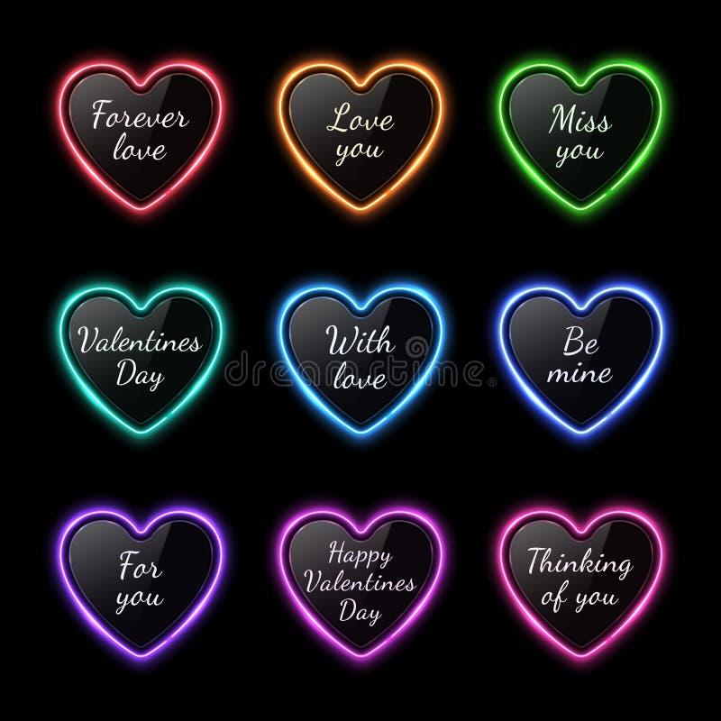 Hjärtor för färgneonljus ställde in med berömtext stock illustrationer