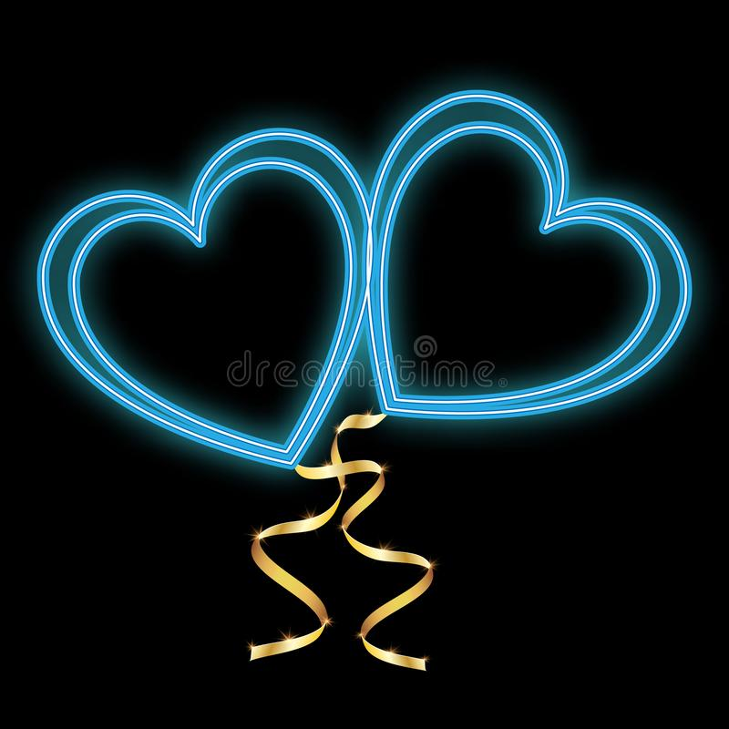 Hjärtor för förälskelse för härliga abstrakta blått för neon ljusa glödande och guld- band för valentin dag- och kopieringsutrymm royaltyfri illustrationer