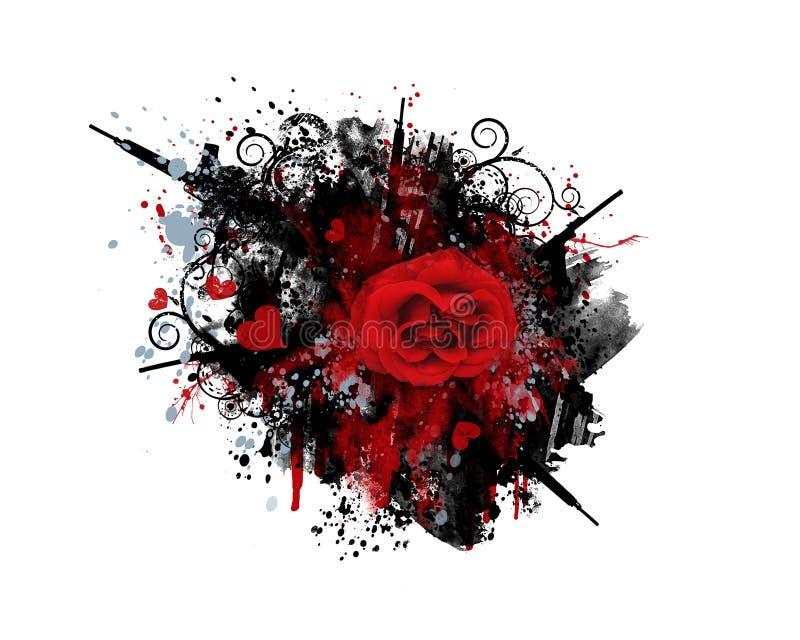hjärtor för grafittigrungetrycksprutor steg royaltyfri illustrationer