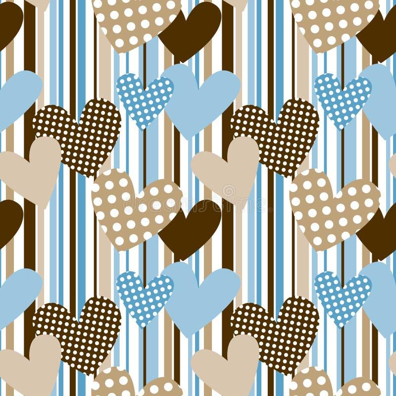 Hjärtor för Polkaprick i seamless bakgrund för band vektor illustrationer