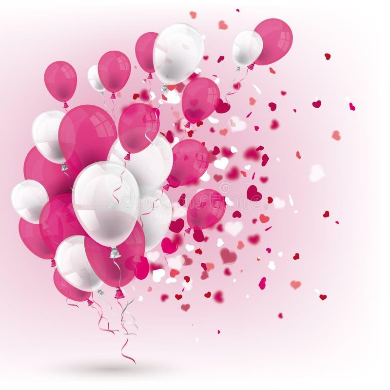 Hjärtor för räkning för rosa vita ballongkonfettier vita royaltyfri illustrationer