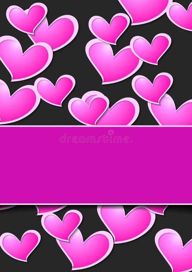 Hjärtor för rosa färger för intelligens för Valentine Day abstrakt begreppbakgrund royaltyfri illustrationer