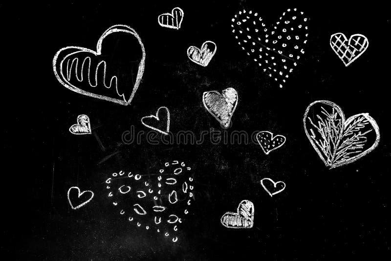 Hjärtor för teckningskrita arkivbild