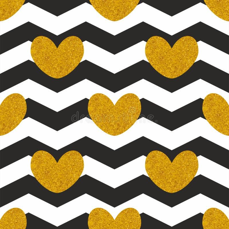 Hjärtor för witn för tegelplattavektormodell guld- och svartvit sparresicksackbakgrund stock illustrationer