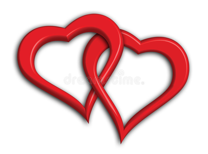hjärtor flätade samman två vektor illustrationer