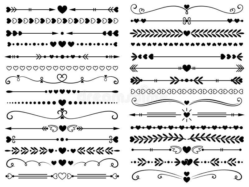 Hjärtor gränsar avdelaren Isolerade den dekorativa linjen jobbkort för förälskelsetappning, hjärtapilar och prack avskiljande lin stock illustrationer