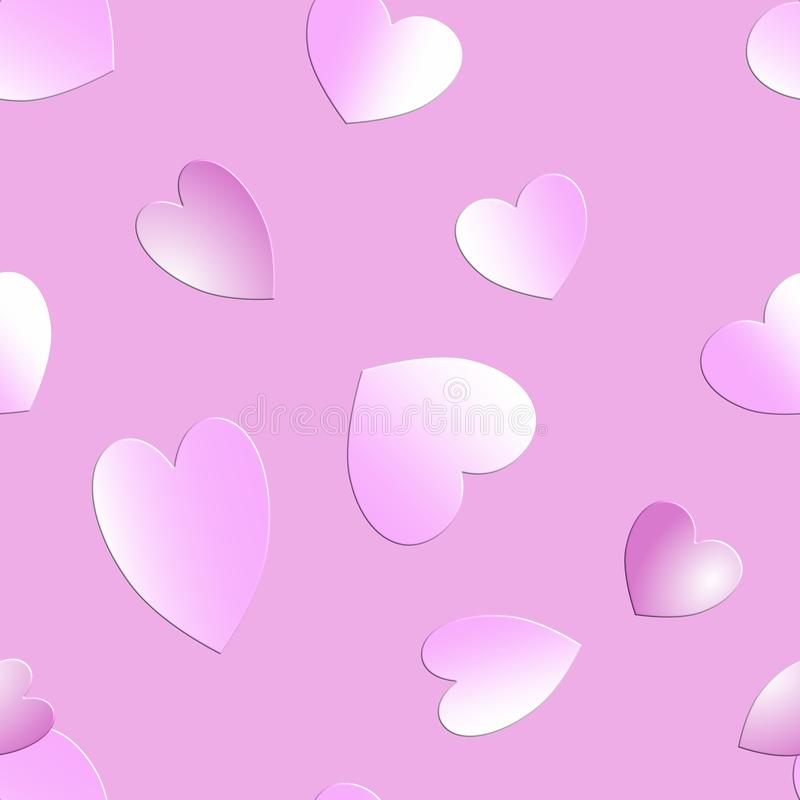Hjärtor i rosa skuggor på rosa bakgrund arkivbilder