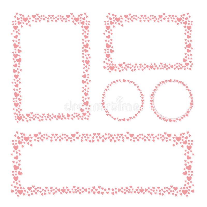 Hjärtor inramar för din design för kortet för valentindaghälsningen vektor illustrationer