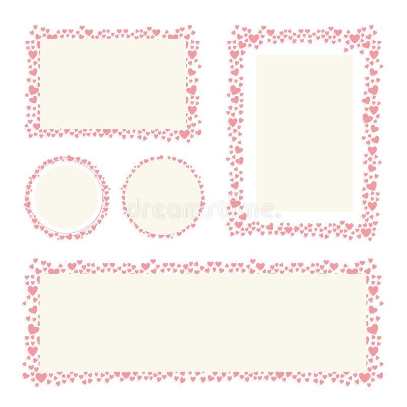 Hjärtor inramar för din design för kortet för valentindaghälsningen royaltyfri illustrationer