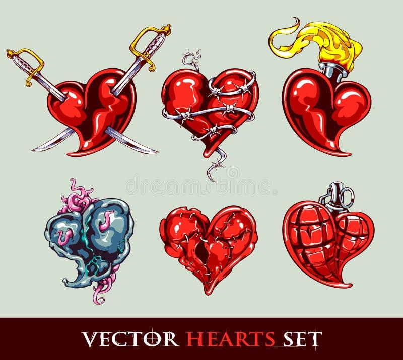 hjärtor inställd stylized tatueringvektor vektor illustrationer