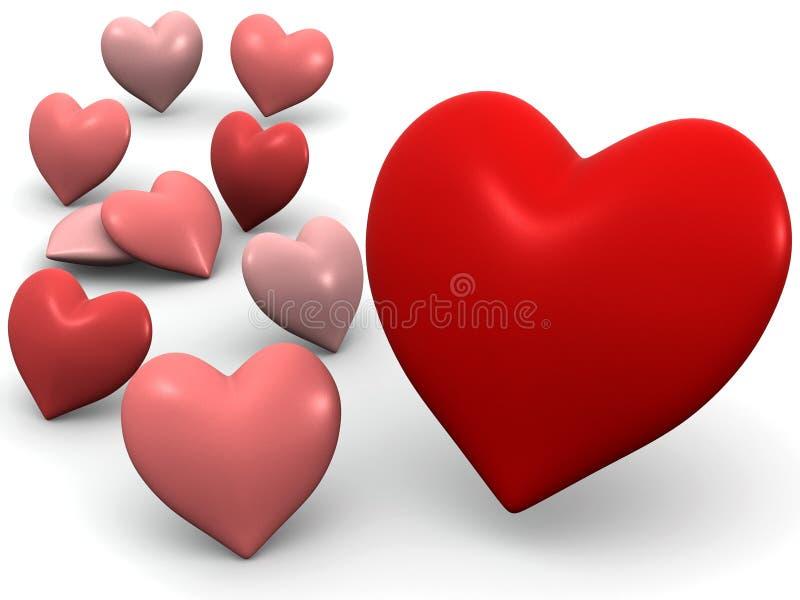 hjärtor många vektor illustrationer