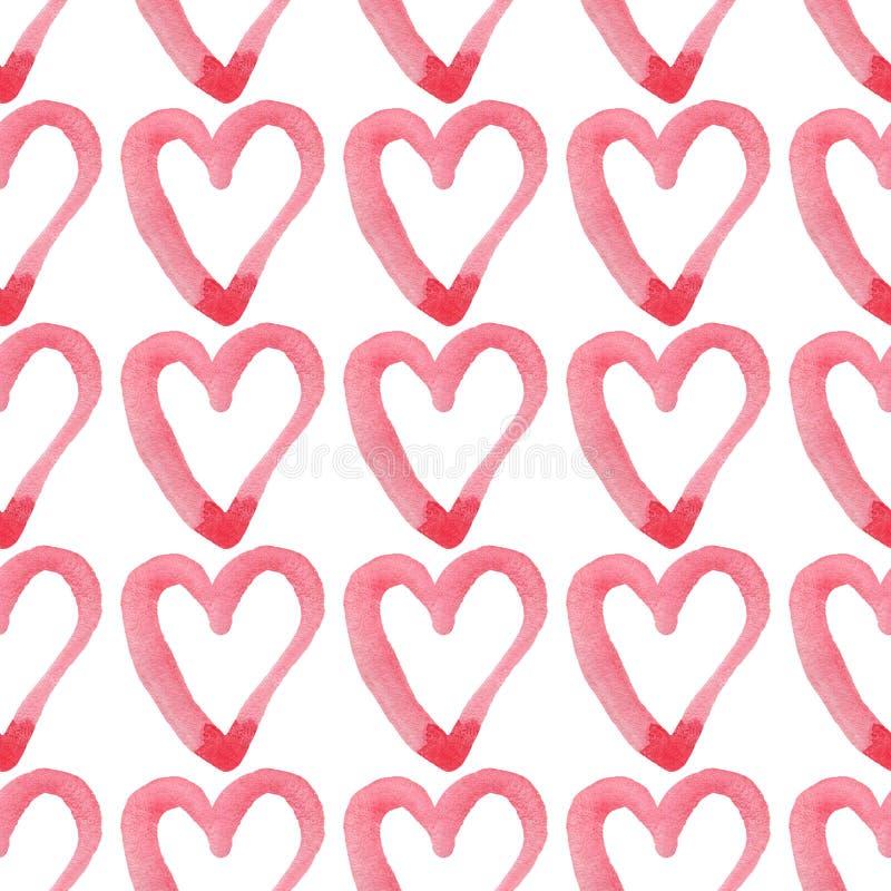 hjärtor mönsan seamless Valentin handskriven bakgrund för dag 14 februari bakgrund stock illustrationer