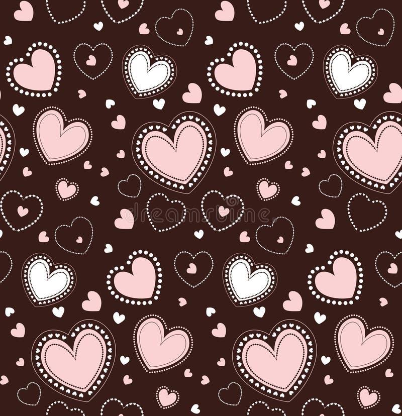 hjärtor mönsan seamless Vektor som upprepar textur vektor illustrationer
