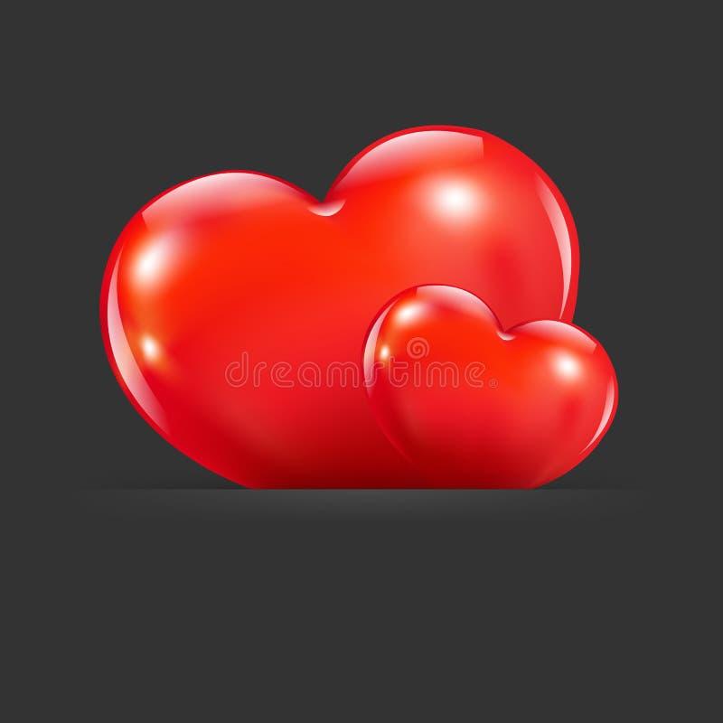 Hjärtor med avdelaren royaltyfri illustrationer
