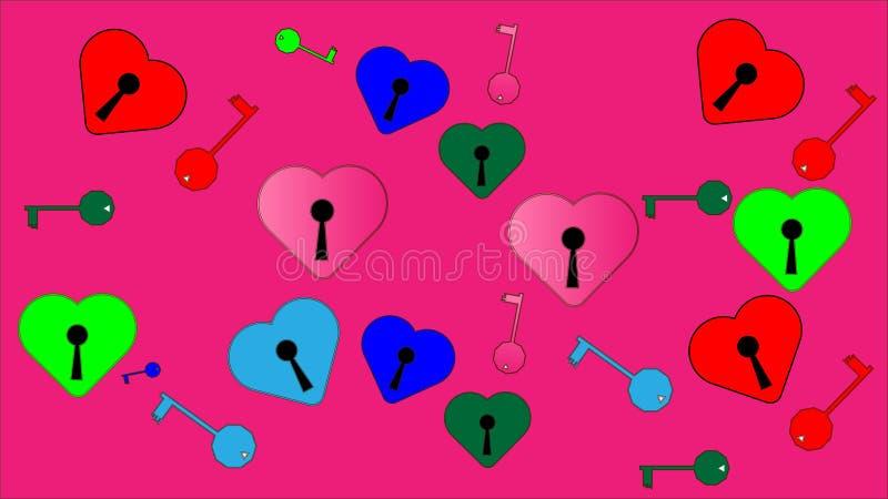 Hjärtor med nyckelhål och tangenter från dem vektor illustrationer