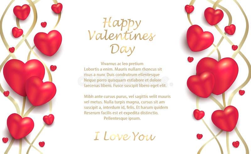 Hjärtor och band som är guld- på en vit bakgrund, hälsningkort till valentin dag för vänner royaltyfri illustrationer