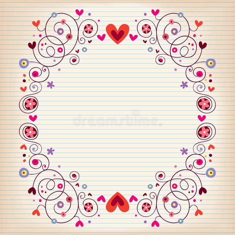 Hjärtor och blommaram på fodrat papper för anmärkningsbok stock illustrationer