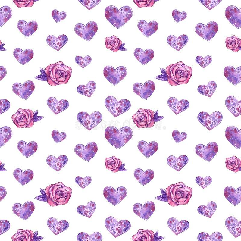 Hjärtor och sömlös modell för purpurfärgade rosor, vattenfärgillustration stock illustrationer