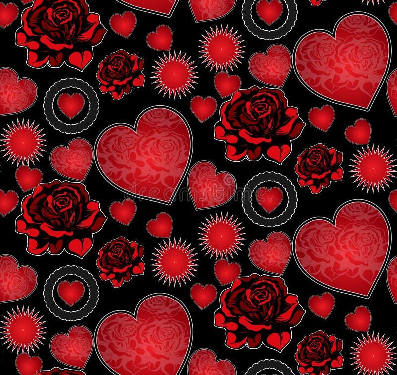 Hjärtor och sömlös modell för rosor royaltyfri illustrationer
