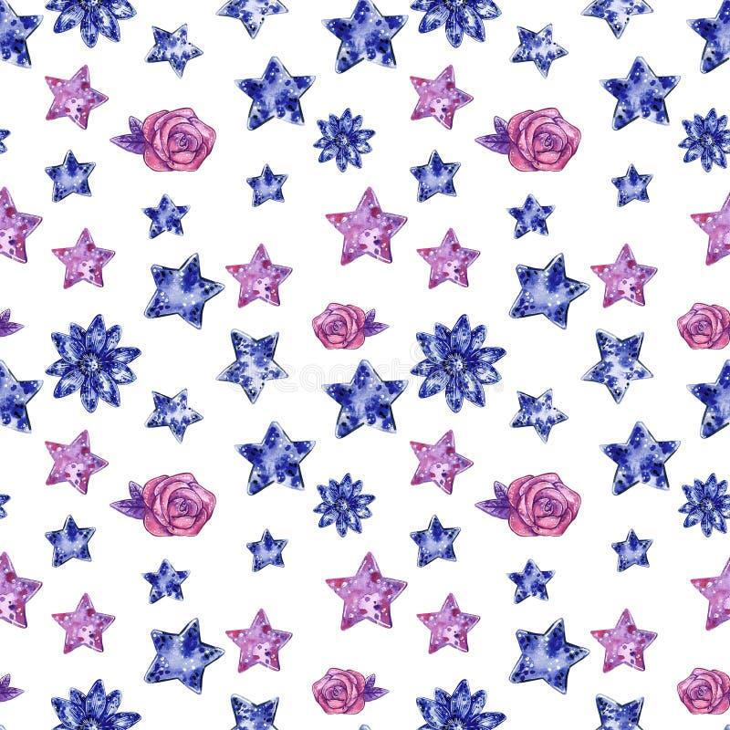 Hjärtor och stjärnor av den sömlösa modellen för purpurfärgade och blåa färger, vattenfärgillustration stock illustrationer