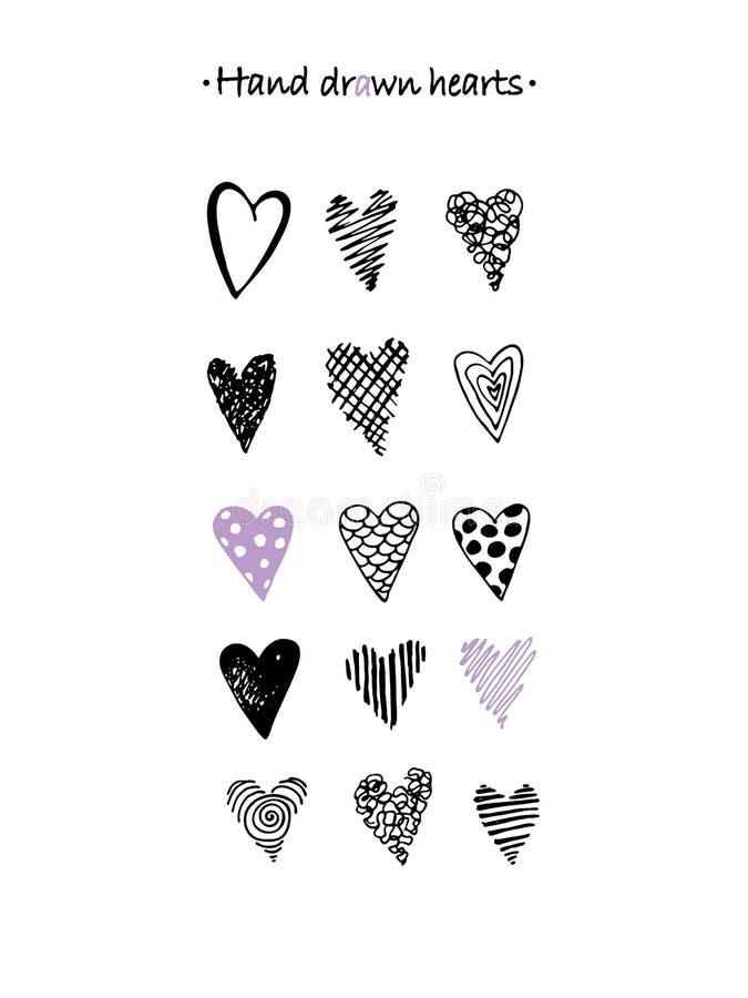Hjärtor räcker den utdragna uppsättningen Härliga beståndsdelar för din design vektor illustrationer