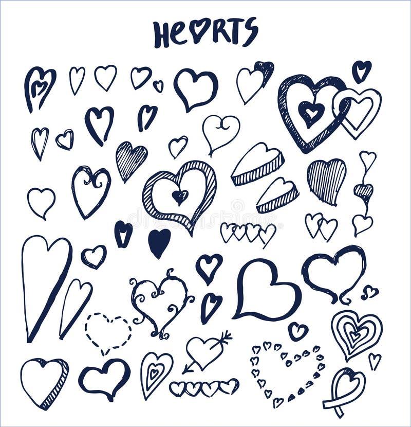Hjärtor räcker utdragna beståndsdelar som är skriftliga vid bläckpennan royaltyfri illustrationer