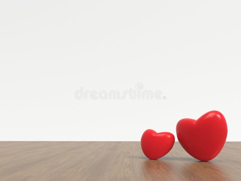 Hjärtor röda Valentine Card av förälskelse och horisontal som isoleras på vit bakgrund vektor illustrationer