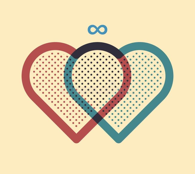 hjärtor sammanfogade tillsammans två vektor illustrationer