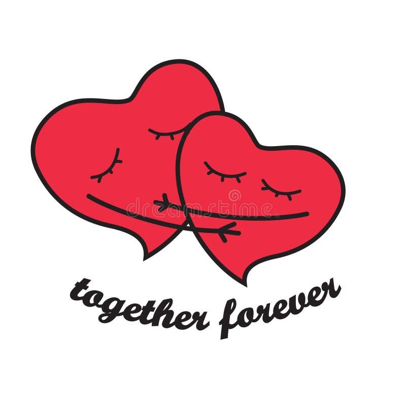 hjärtor som älskar två stock illustrationer