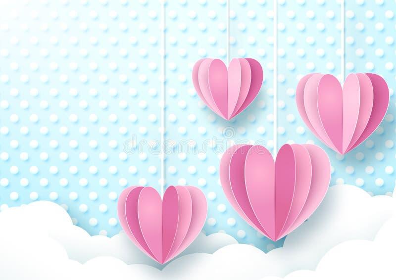 Hjärtor som hänger på gullig mjuk blått- och vitprickbakgrund royaltyfri illustrationer