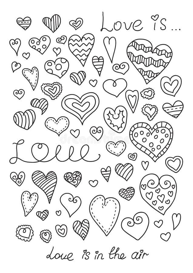 hjärtor ställde in vektorn tecknad hand vektor illustrationer