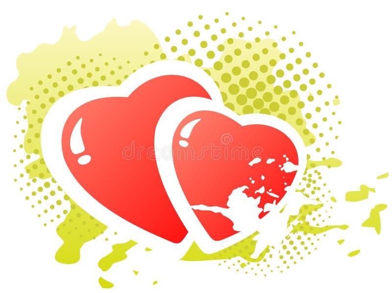 hjärtor två royaltyfri illustrationer