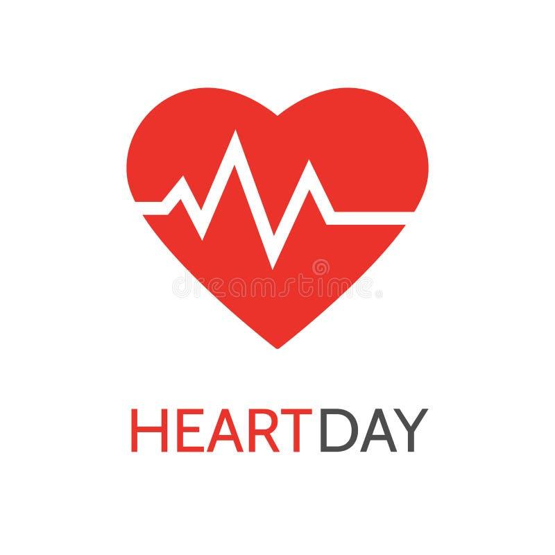Hjärtslagsymbol i plan stil för medicinska apps och websites Pulssymbol Hjärtarytm Kort för världshjärtadag Hälsa för medicinskt  vektor illustrationer