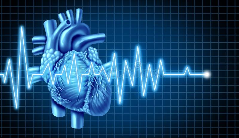 hjärta för ecgekggraf stock illustrationer