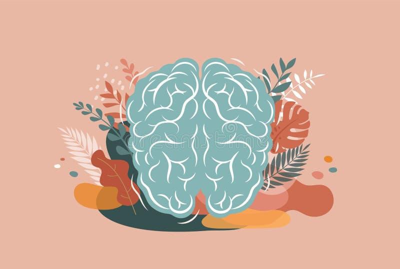 Hj?rn-, menings- och mindfulnessbegreppsillustration Vektorbakgrund och affisch med sidor och naturen stock illustrationer