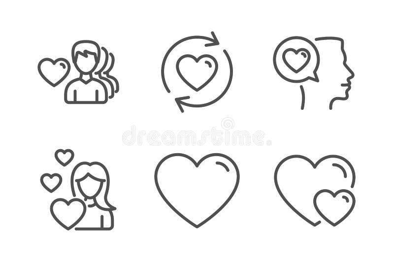 Hj?rta-, uppdateringf?rh?llanden och f?r?lskelsesymbolsupps?ttning Romantiskt samtal, manf?r?lskelse och hj?rtatecken Romantiskt  royaltyfri illustrationer