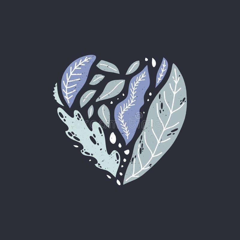 Hj?rtaform med sidor Härlig blom- dräkt, mörk bakgrund organisk etikett Beståndsdel för hälsningkort, inbjudan, brud- parti vektor illustrationer