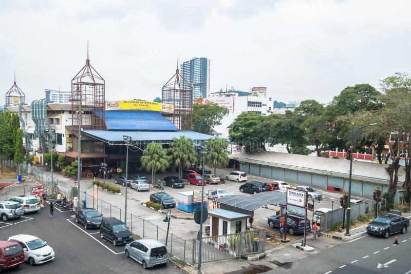 HJ Samuri是著名satay餐馆在Kajang镇,并且它在MRT驻地旁边位于  库存图片