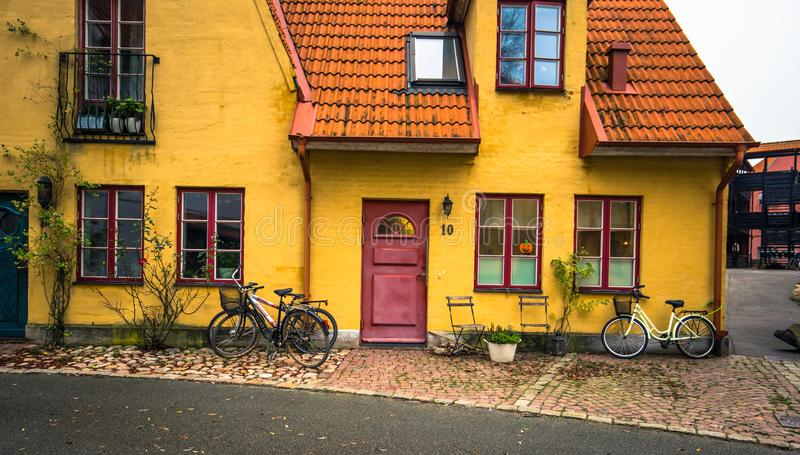 Hjarup - October 21, 2017: Traditional Swedish house in the town of Hjarup, Sweden stock image
