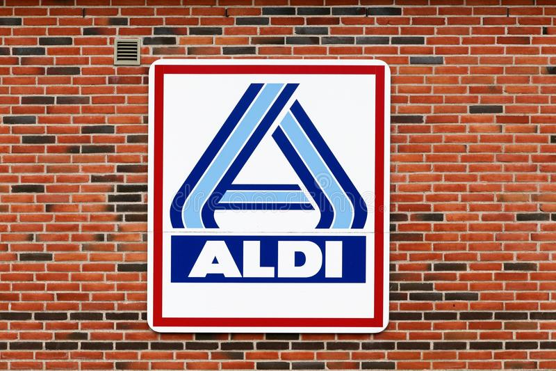 Aldi logo on a wall royalty free stock photos