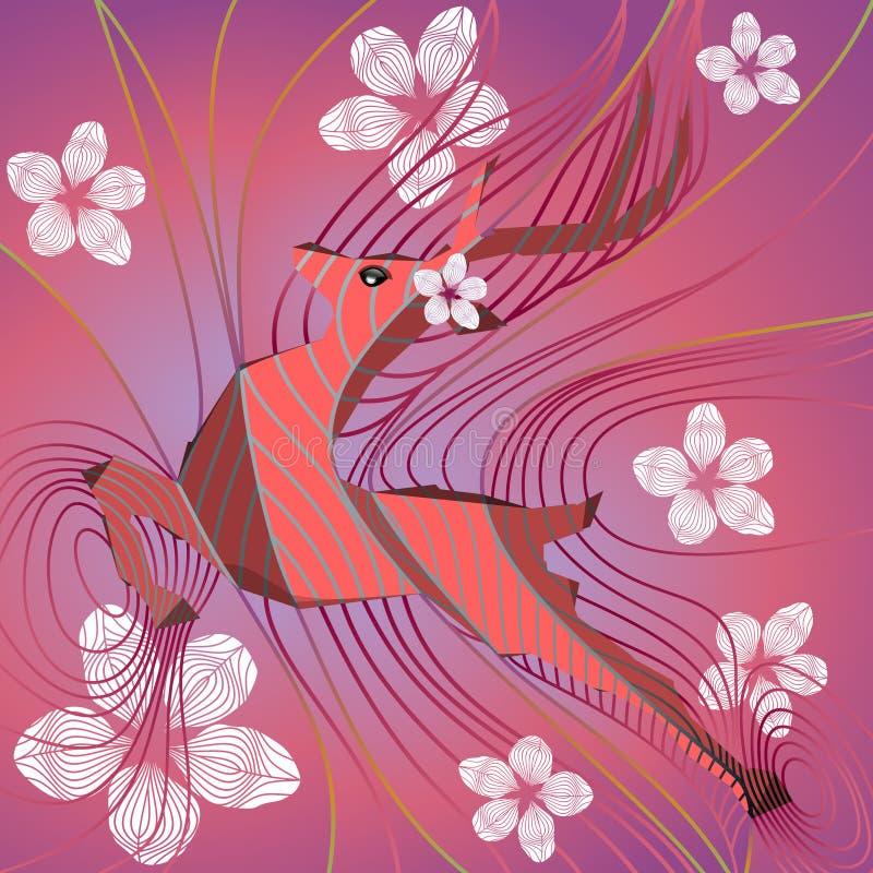 Hjortar av våren och vita blommor vektor illustrationer