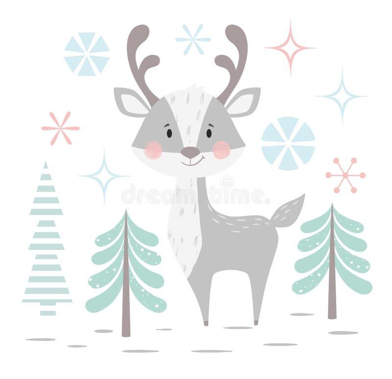 Hjortar behandla som ett barn vintertrycket Gulligt djur i snöig skogjulkort royaltyfri illustrationer