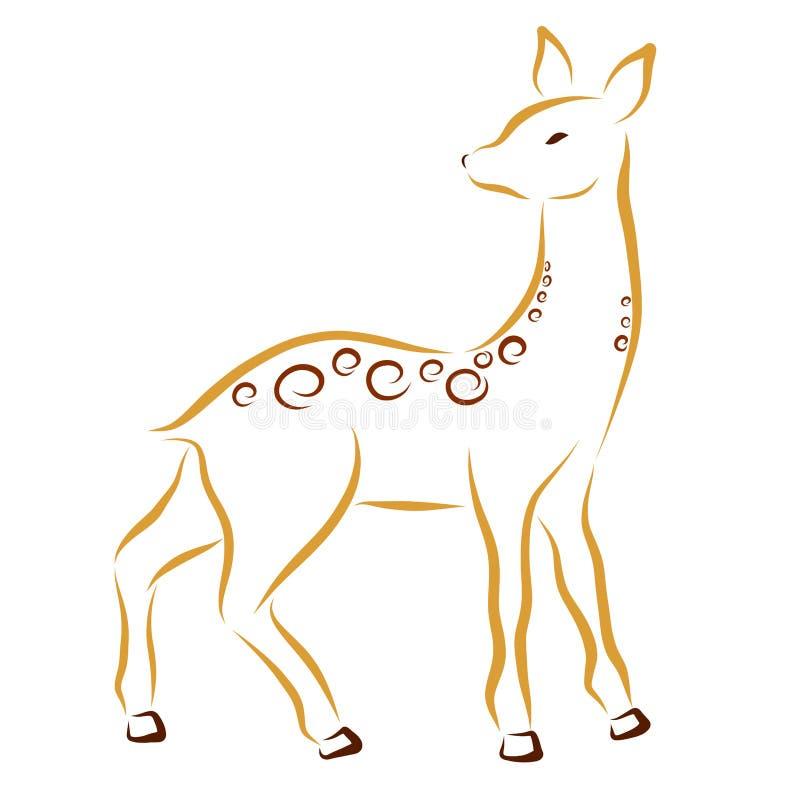Hjortar eller doe som drar i släta linjer vektor illustrationer