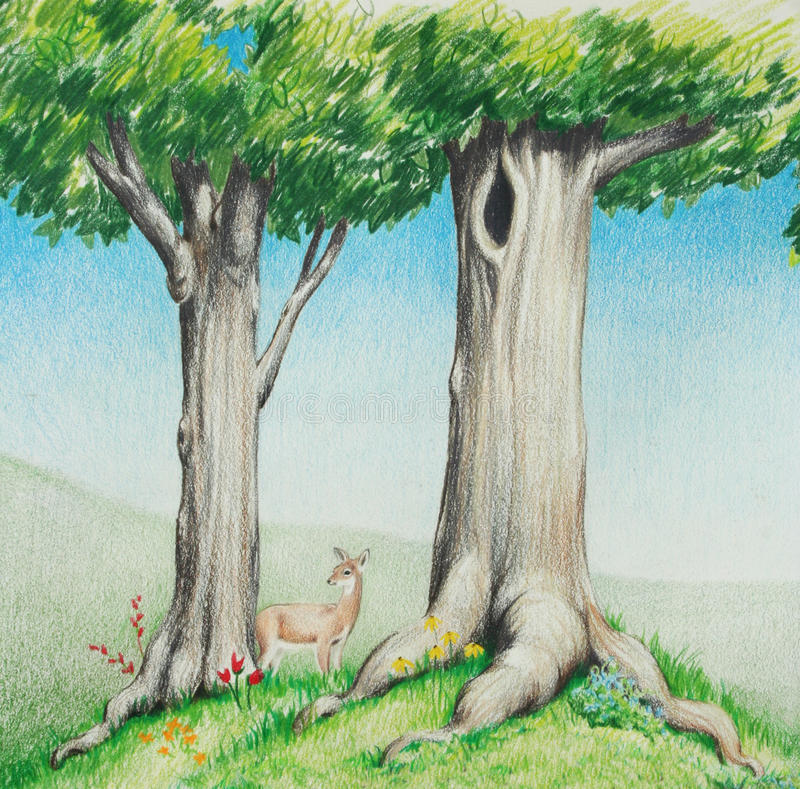Hjortar eller lismar i dragen illustration för skogträd handen vektor illustrationer