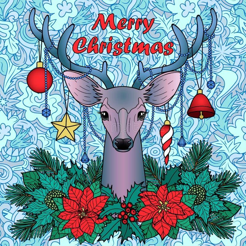 Hjortar för glad jul på sömlös bakgrund för klotter royaltyfri illustrationer