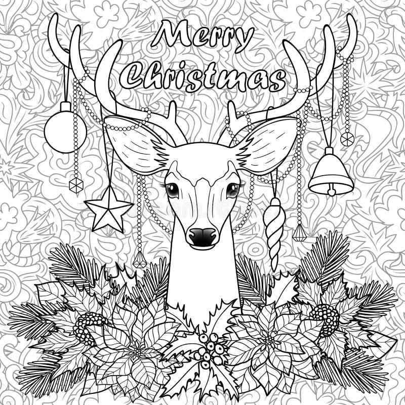 Hjortar för glad jul på sömlös bakgrund för klotter stock illustrationer