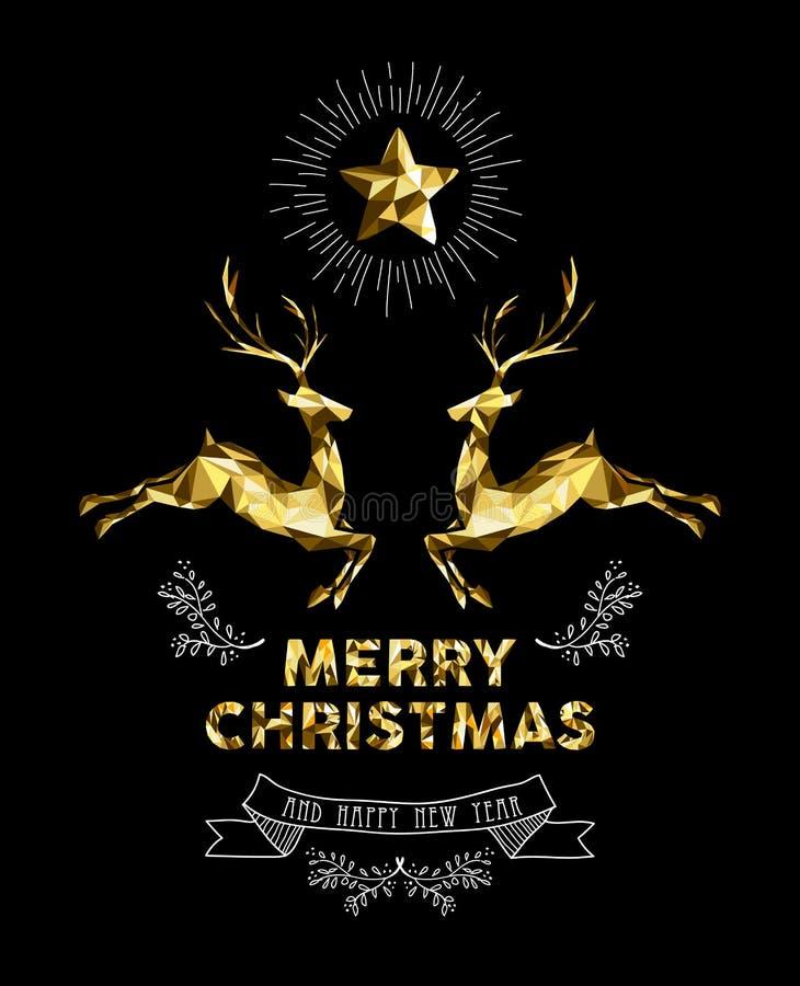 Hjortar för guld- etikett för nytt år för jul semestrar eleganta stock illustrationer