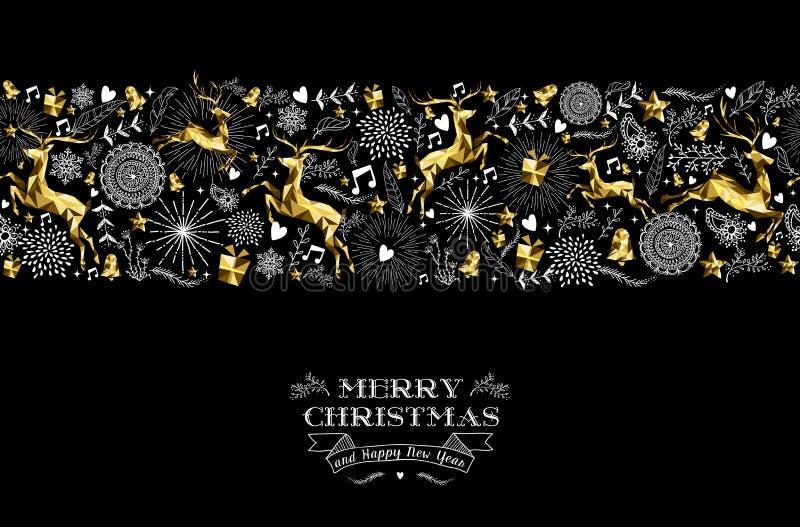 Hjortar för guld för modell för etikett för nytt år för glad jul royaltyfri illustrationer