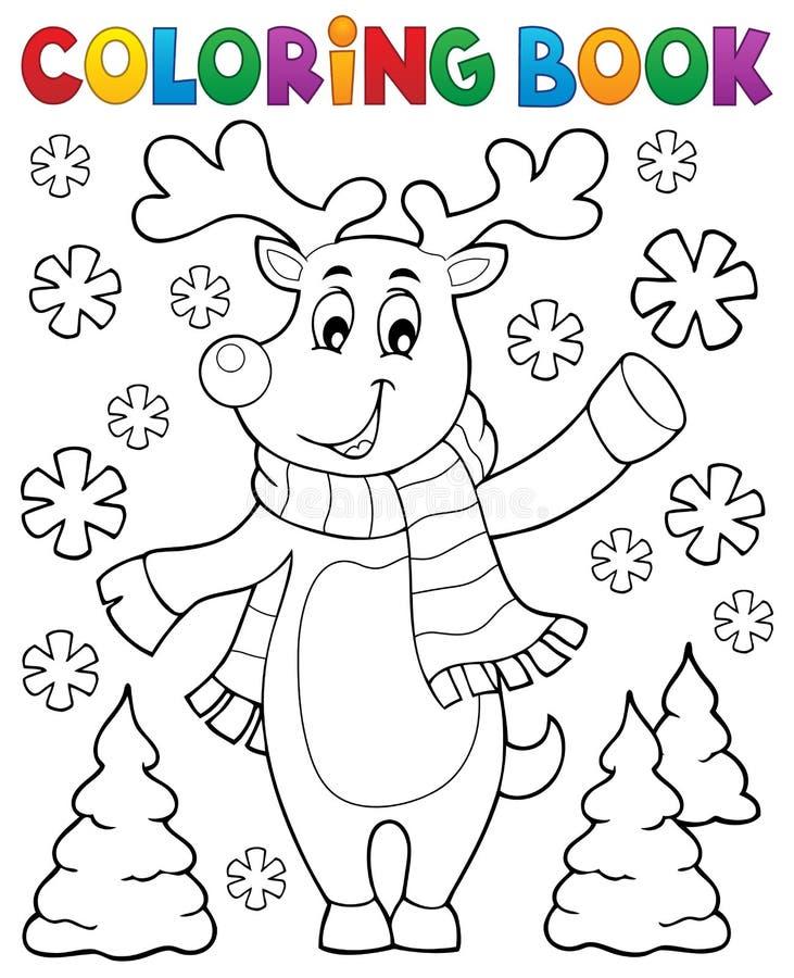 Hjortar för jul för färgläggningbok stiliserade vektor illustrationer