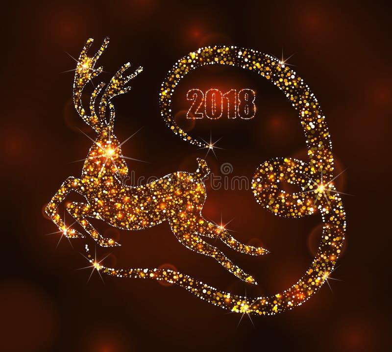 Hjortar för julljus för lyckligt nytt år, rinnande fullvuxen hankronhjort Lyxig bakgrund vektor illustrationer